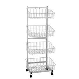 Wire Basket Unit 4 Tier Single Sided 570wx1520h White