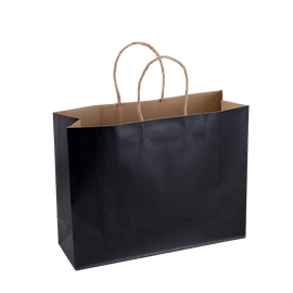 Paper Bag Large Wide 320w x 110d x 250h Black pack 100
