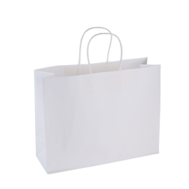 Paper Bag Large Wide 320w x 110d x 250h White pack 100