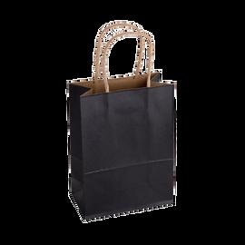 Paper Bag Small Tall 150w x 80d x 210h Black pack 100