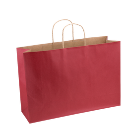 Paper Bag X Large Wide 420w x 130d x 310h Red pack 100