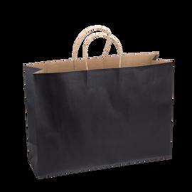 Paper Bag X Large Wide 420w x 130d x 310h Black pack 100