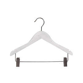 Child Top Hanger Notches Rail with Clips 350mm White Gloss
