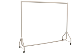 Oval Bar Single Rail Rack w Castors 1830wx 1520h White