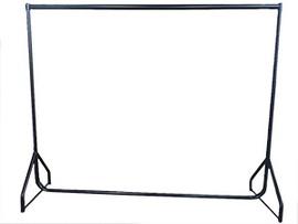 Oval Bar Single Rail Rack w Castors 1830wx 1520h Black