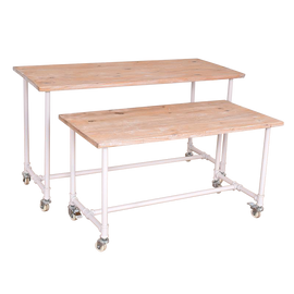 Display Table Industrial Style Set of 2 White