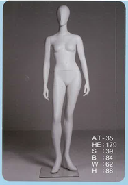 Female Mannequin Featureless Arms at Sides Angled White