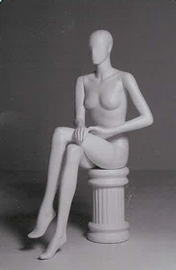 Female Mannequin Featureless Seated White