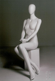 Female Mannequin Upright Featureless Seated White