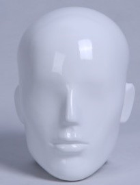Male Mannequin PP Features Head Only Gloss White