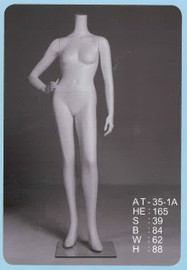 Female Mannequin Headless Right Hand on Hip White