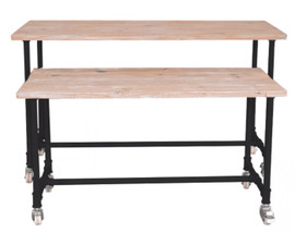 Display Table Industrial Style Set of 2 Black LEGS ONLY