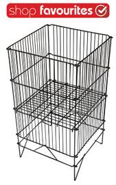 Folding Wire Dump Bin 470 sq x 840h Black