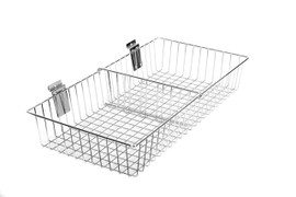 Slatpanel Sloping Wire Basket 600mm with Divider