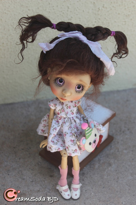 Tess -One of a Kind fullset Nola with custom stand CreamSoda BJD tiny artist doll ball jointed doll