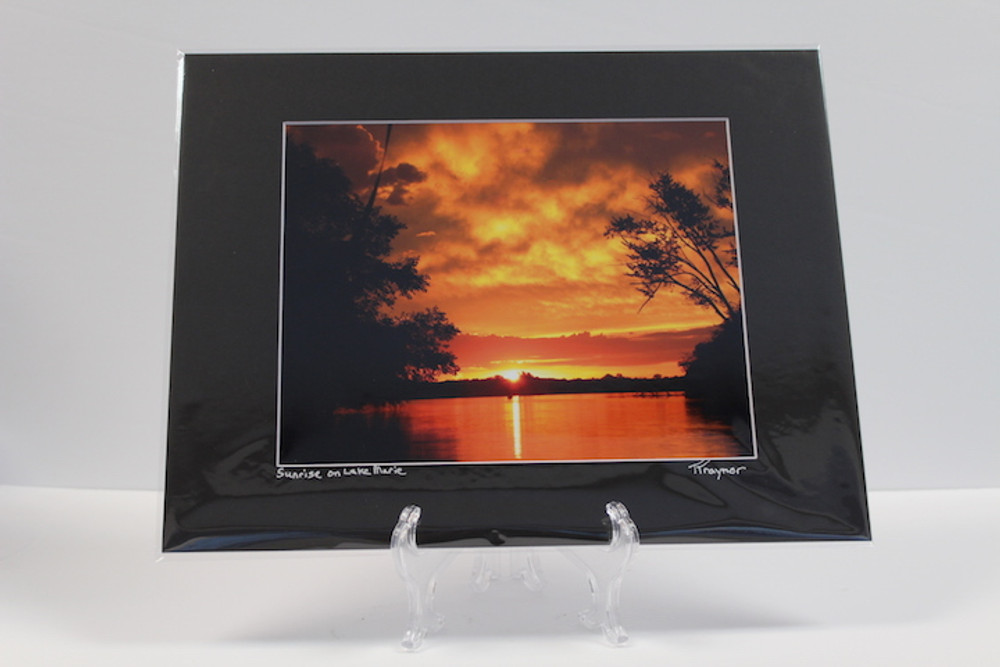 Pre-matted Black - Sunrise on Lake Marie - 2