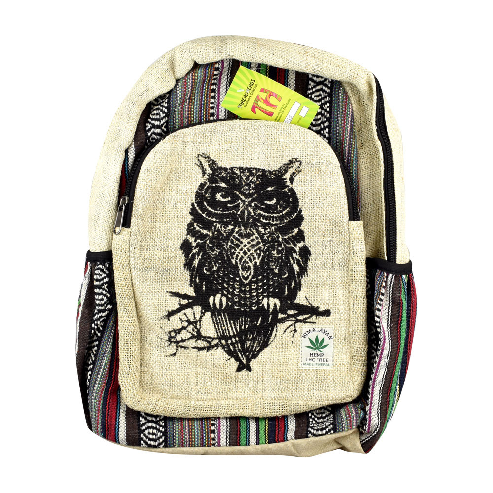 "ThreadHeads Himalayan Hemp Wise Owl Backpack - 13"" x 18"""