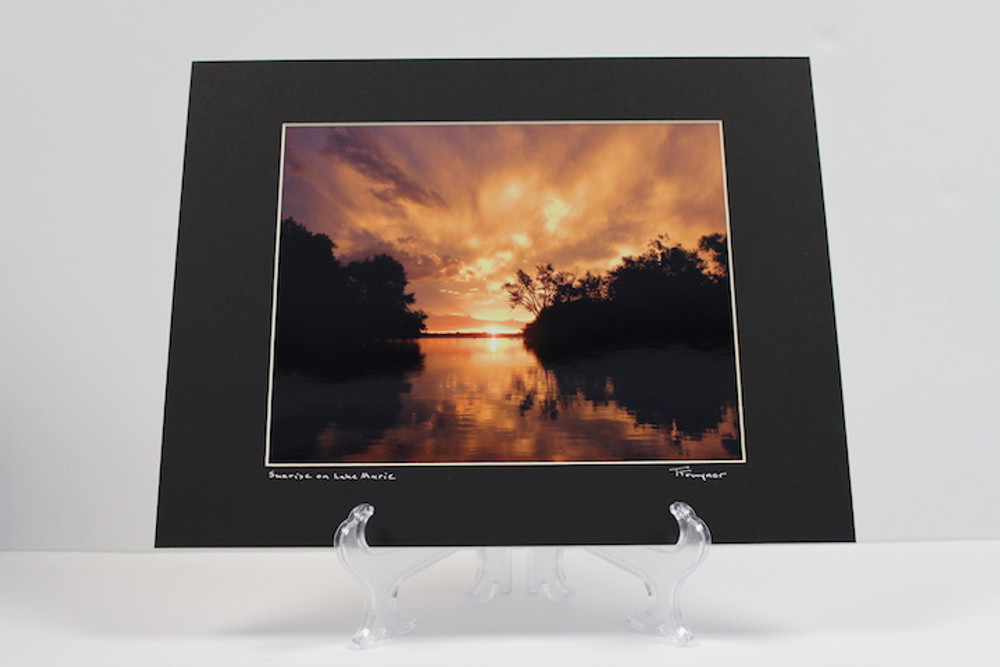 Pre-matted (Black) - Sunrise on Lake Marie 3