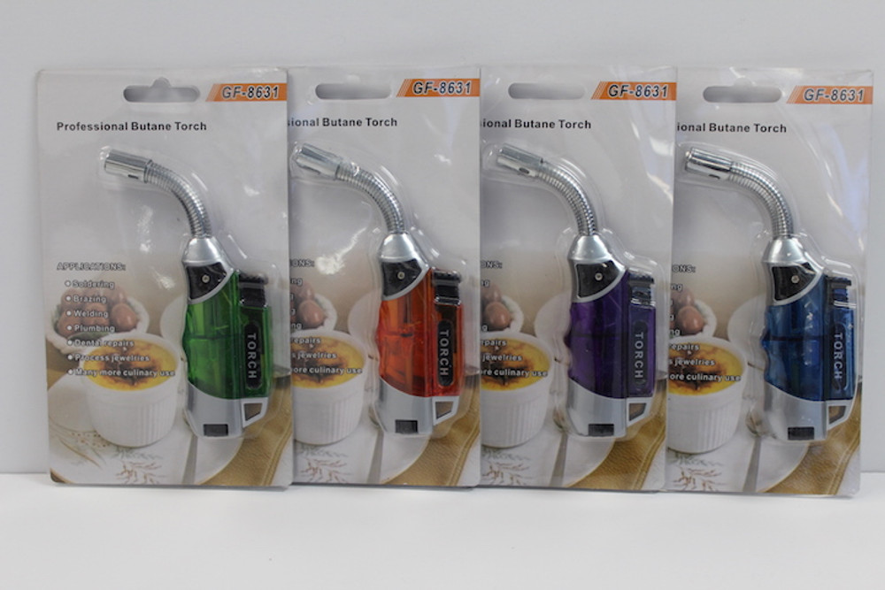 Silver Curved FlexNeck Mini Torch w/Colored Handle
