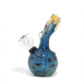 """Double Glass Water Pipe - Blue w/ Red Spots / 5.25"""""""
