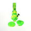 "Mini Acrylic 2 Bubble Bong w/Grinder Base 6.75"""