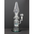 """Flared Clear/Teal Perc Recycler 15"""""""