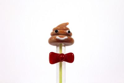 "Poop Emoji Glass Dab Tool - 4.75"""