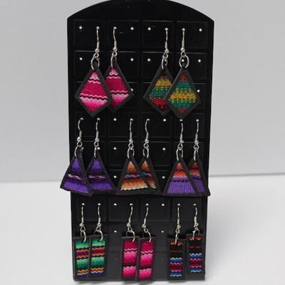 Handmade Inca Multicolored Flat Earrings from Peru