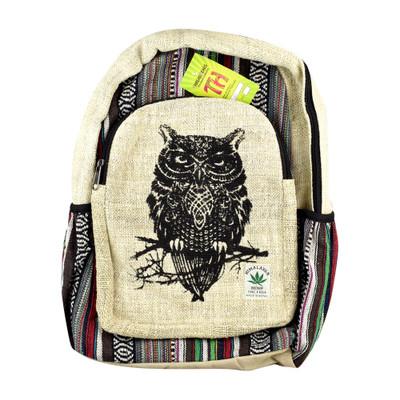 "ThreadHeads Himalayan Hemp Wise Owl Backpack - 13"" x 18"""