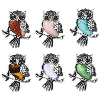 Silver & Semi-Precious Stone Owl Necklace - 18""