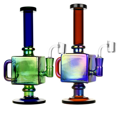 "Iridescent Teapot Cube Inline Rig - 9.5"" 14mm F"