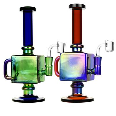 "Iridescent Teapot Cube Inline Rig - 9.5"" 14mm F"