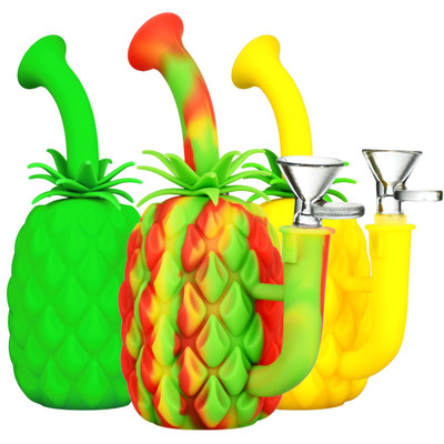 """Silicone Pineapple Water Pipe - 7"""" 14mm F"""