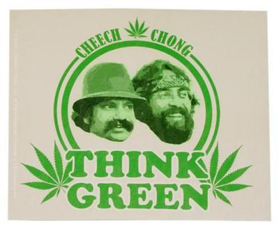 """4""""x5"""" Cheech & Chong """"Think Green"""" Sticker"""