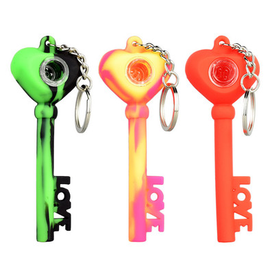 """Key of Love Silicone Keychain Pipe - 4"""""""