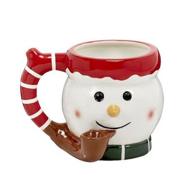Roast & Toast Smoking Snowman Ceramic Pipe Mug 17 oz
