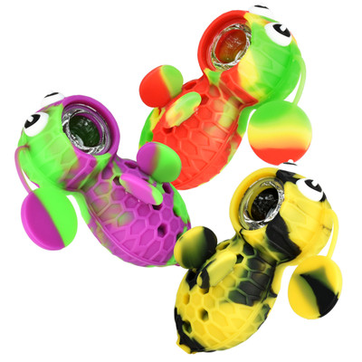 """Silicone Bee Pipe w/ Covered Glass Bowl 4"""""""