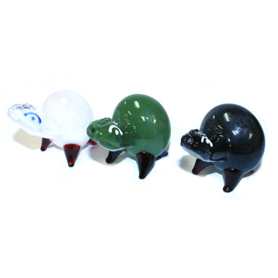 """3.5"""" x 3.5"""" Turtle Glass Pipe.  The turtle is a great  inconspicuous pipe! (Bowl located on the under side.)"""