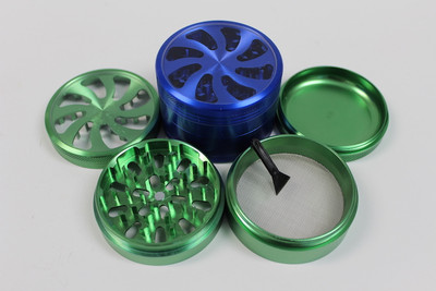 Flower Teeth 4 Parts Aluminum Grinder 63mm