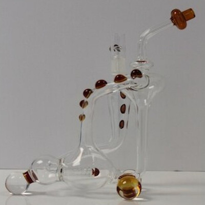 Clear/Amber Dab Recycler Mobile 9""