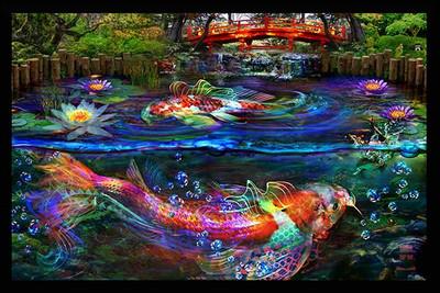 Jumbie Art Koi Fish Mini Tapestry