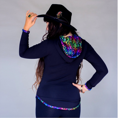Jumbie Art Rainbow Women's Hooded Shirt