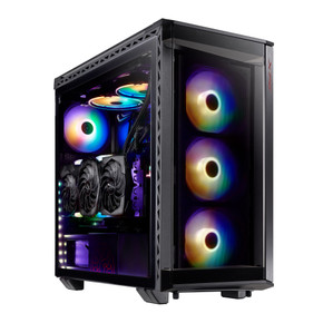 XPG BATTLECRUISER ATX Mid-Tower RGB Case: Tempered Glass Tool-Less Design Black