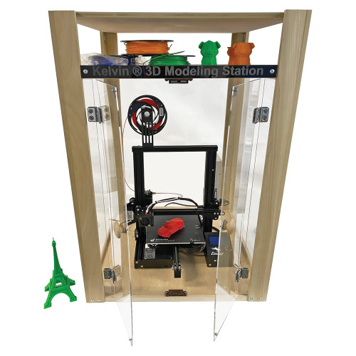 KELVIN® Assemble Your Own 3D Modeling Station Cabinet with Assembled 3D Printer