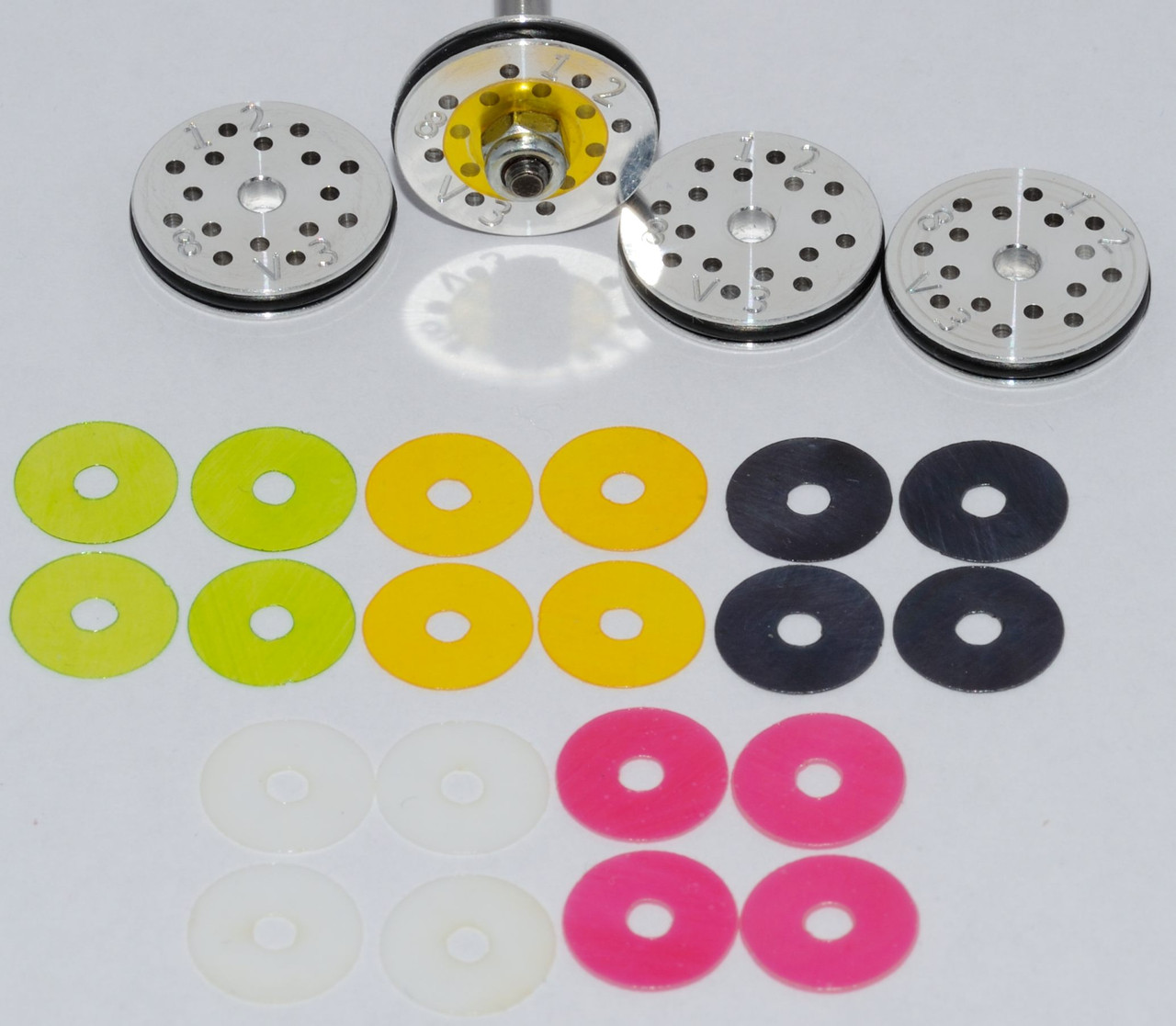 #1 RC Shock Rebound Valved Pistons 16mm, 8 hole, 1.2mm. Losi 8ight, HB, Serpent 2.0