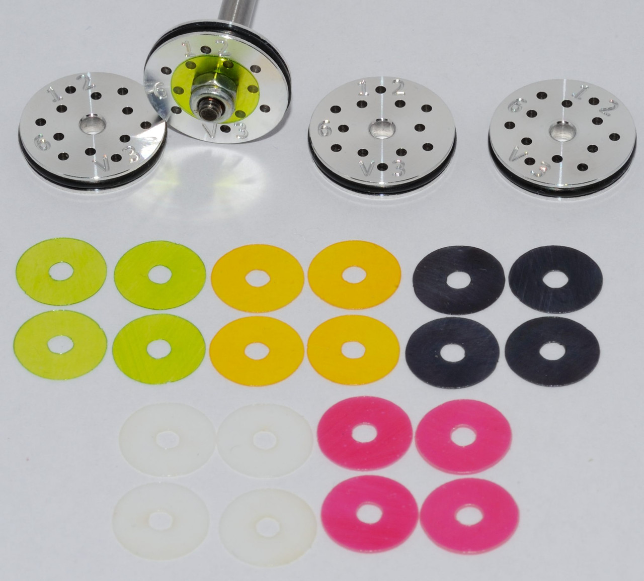 #1 RC Shock Rebound Valved Pistons 16mm, 6 hole, 1.2mm. Losi 8ight, HB, Serpent 2.0