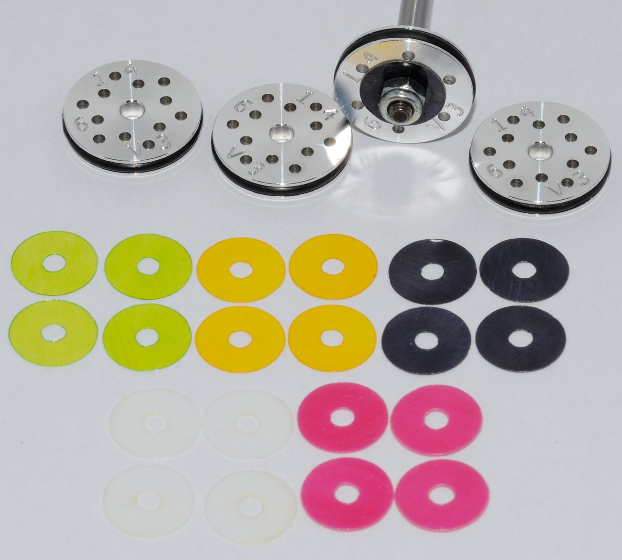 #1 RC Shock Rebound Valved Pistons 16mm, 6 hole, 1.4mm. Losi 8ight, HB, Serpent 2.0