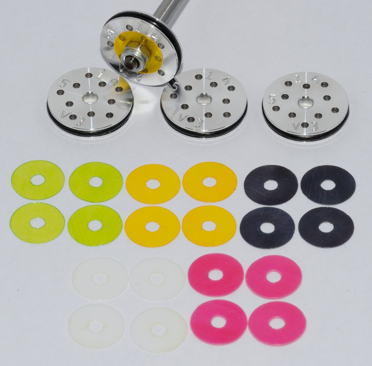 #1 RC Shock Rebound Valved Pistons 16mm, 5 hole, 1.4mm. Losi 8ight, HB, Serpent 2.0