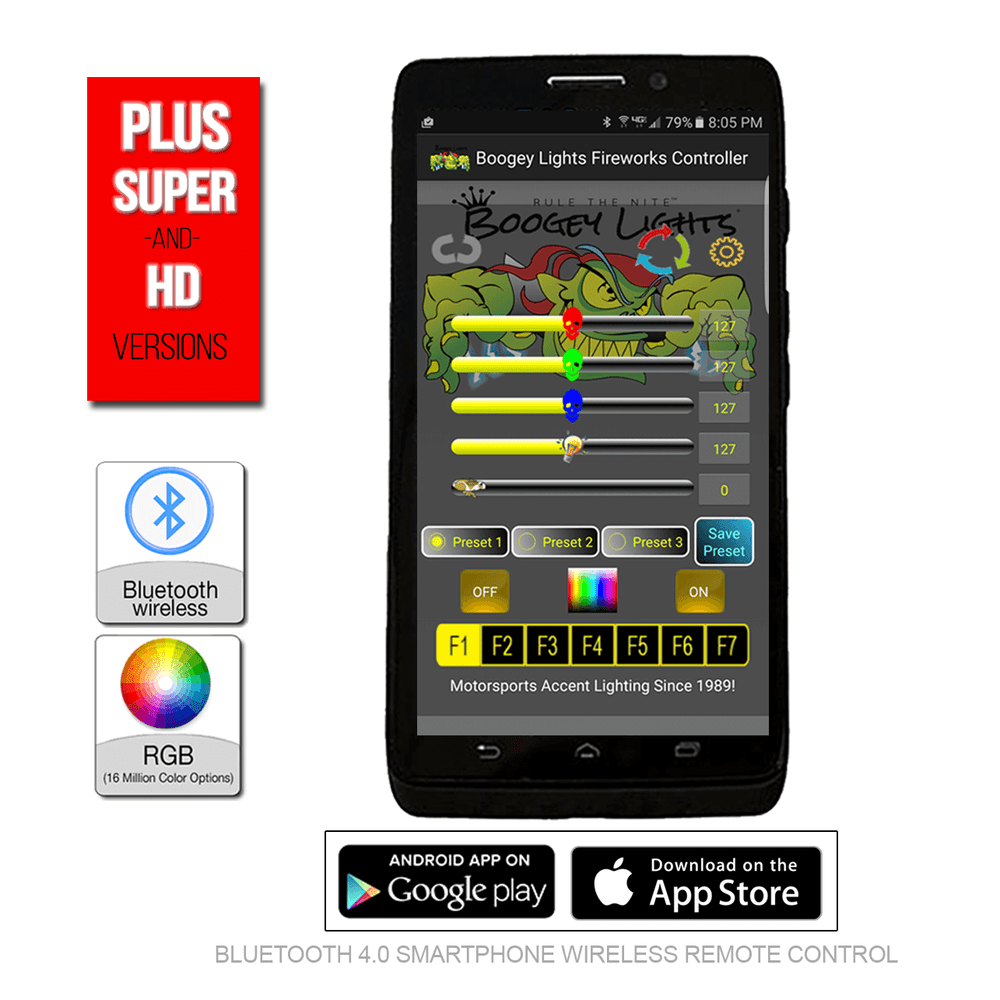 Use your Bluetooth enabled smartphone with our FREE Android or iOS APP