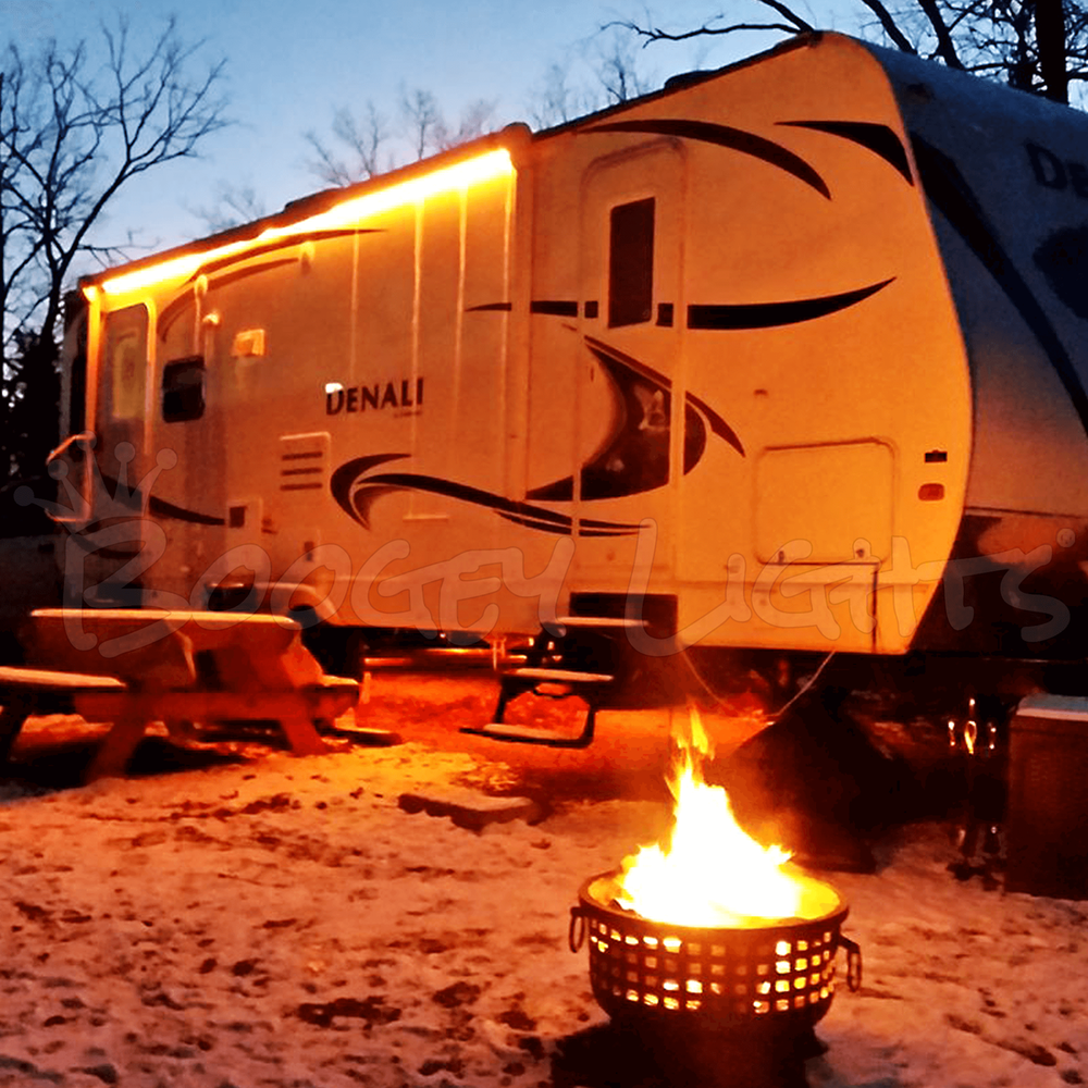 Multi-Color LED Awning Light for RVs, Trailers and Campers. Photo submitted by customer.